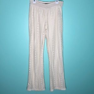 Vanilla Star Stretchy Crochet Ivory Pants Sz 14